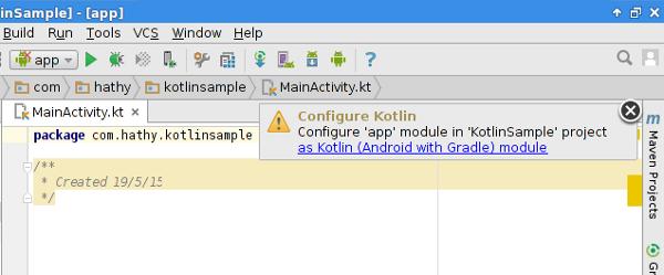 Configure Kotlin alert